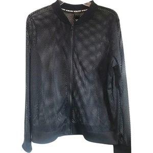 Victoria's Secret Sport Women's Full Zip Black Mesh Jacket Size Large